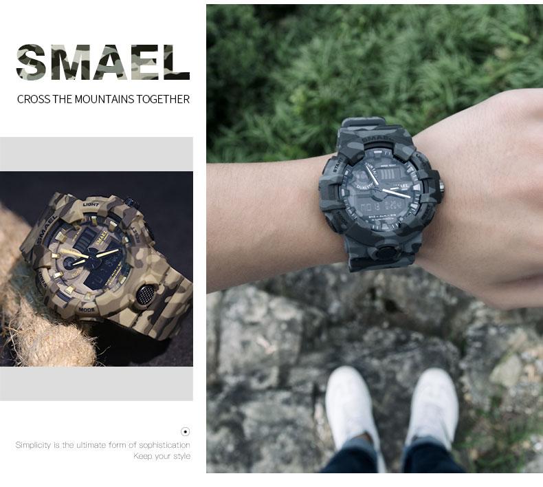 6e706bc5fcf0 Nuevo reloj militar de camuflaje marca SMAEL relojes deportivos reloj  Digital LED reloj de pulsera de doble hora 8001 reloj militar impermeable