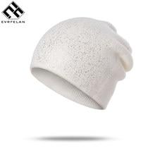 Evrfelan High Quality Cheap Skullies Beanies For Women Knitted Winter Hat  Shinning Beanies Girls Skullies Solid aa434daf6a0
