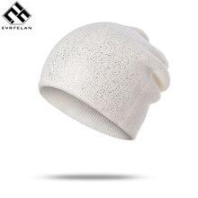 Evrfelan alta calidad barato Skullies gorros para mujeres de punto sombrero  de invierno brillantes gorros de 88f1274efdd
