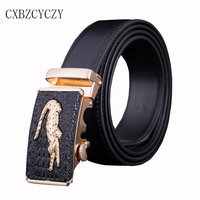 2016 New Business Fashion Automatic Buckle Men S Belt Genuine Luxury Leather Belt Silver Golden Crocodile