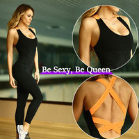 2019 Backless Bandage Yoga Jumpsuit Fitness Sport wear for women Bodysuit Sportswear Gym clothing Running Sport suit Yoga Set