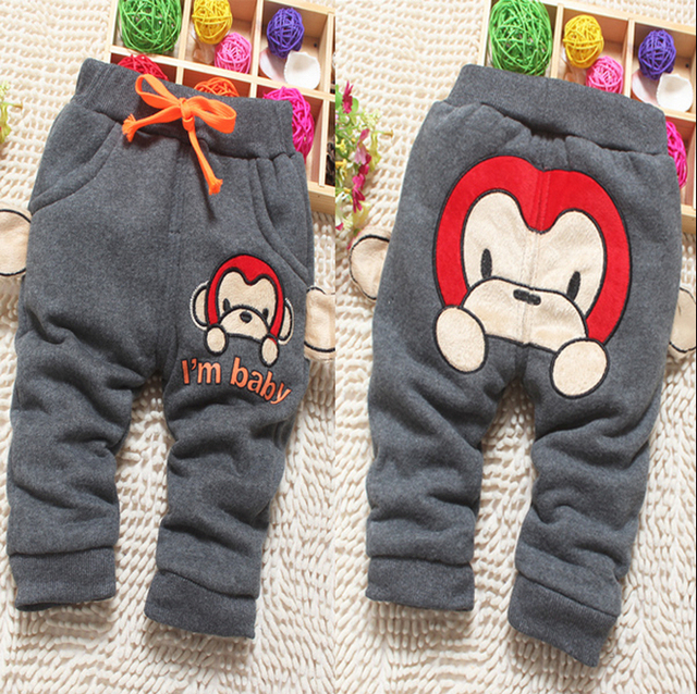 62a80f30748e Kids winter models baby boy cotton pants plus thick velvet trousers ...