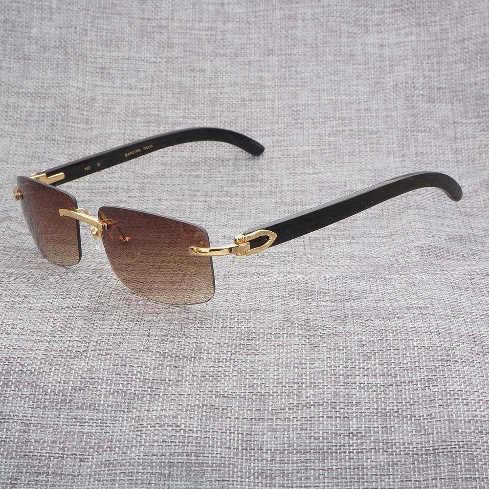 Trendy Men Carter Sunglasses Women Wood Eyewear Square Sunglasses for Driving Buffalo Horn Glasses Luxury Shades Men 012