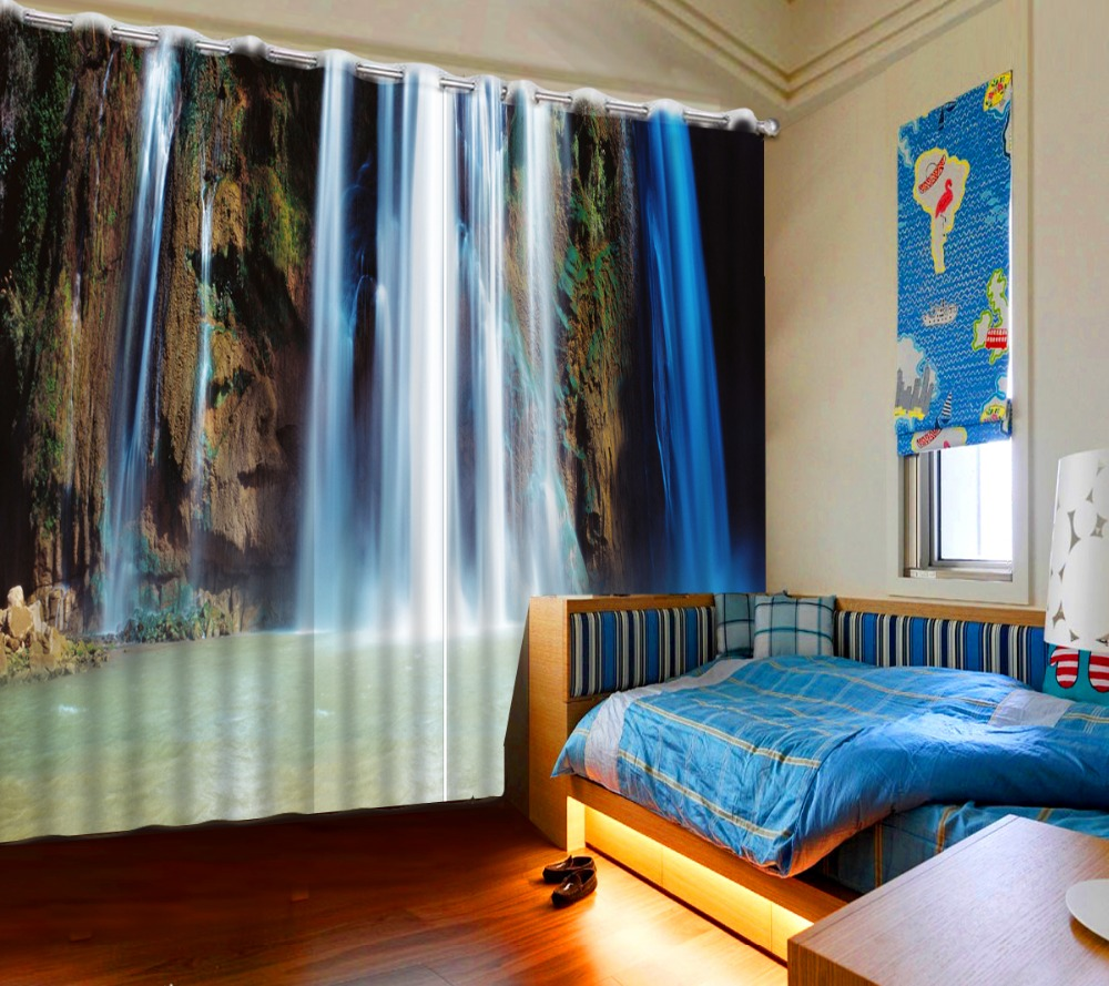 3d curtains Home bedroom decoration Curtains for Drapes Cortinas waterfall landscape 3d curtains exterior house decor