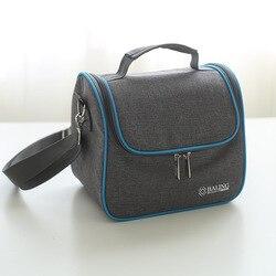 Сумка для обеда Новая модная Высококачественная серо-синяя Минималистичная термоизолированная сумка для еды Повседневная дорожная Теплов...