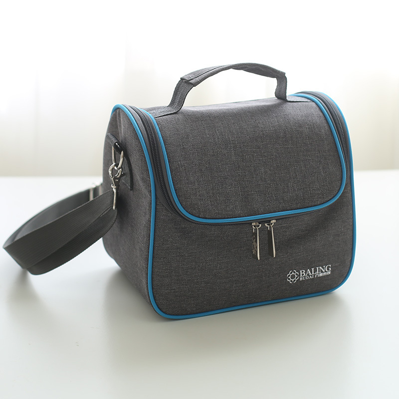 Lunch Bag New Fashion High Quality Gray-blue Minimalist Thermo Food Insulated Bag Casual Travel Picnic Bag Thermal Lunch Box