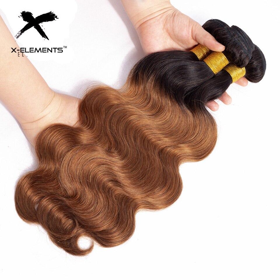 X-Elements Brazilian Ombre Body Wave Hair Bundles T1B 30 Burgundy 39J Purple Colored Human Hair Weave Non-Remy Hair Extensions (15)