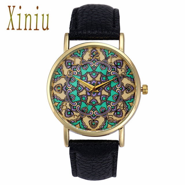 Clock Women's Watches Hot Ethnic Style Women Faux Leather Analog Saat Quartz Hoo