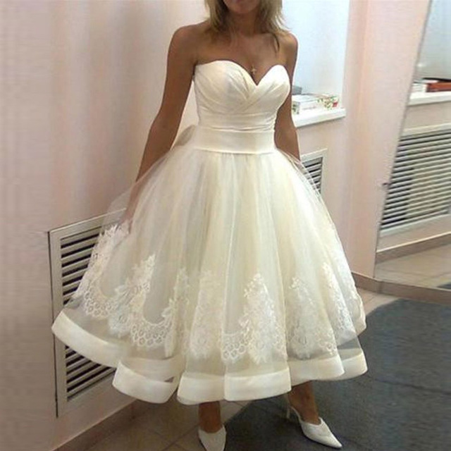 US $101.18 22% OFF|Alexzendra New Tea Length Wedding Dress Sweetheart  Elegant Simple Wedding Bridal Dresses Plus Size Custom Made-in Wedding  Dresses ...