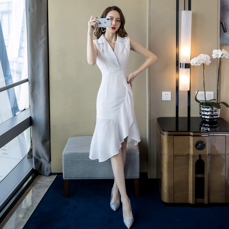 2019 Elegant Office Lady Summer Shirt Dress Stripped Turn Down Collar Wear to Work Women Dresses