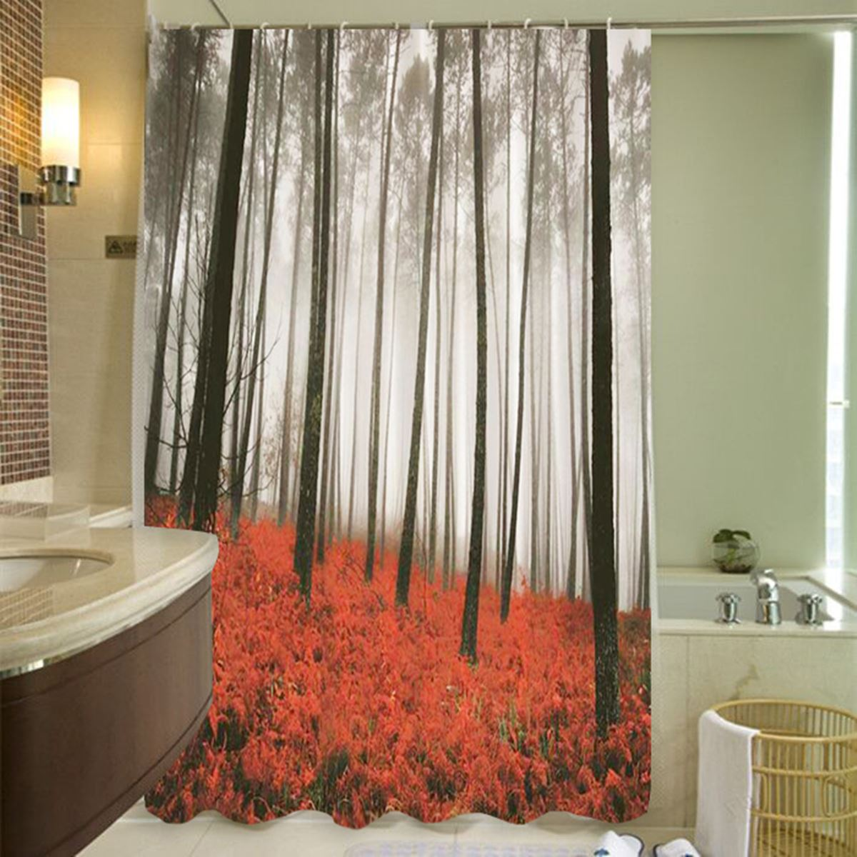Sheer red window curtains - Red Grass Forest Polyester Shower Curtain 180x180cm Panel Sheer Bath Screen Home Bathroom Textiles Shower Cover