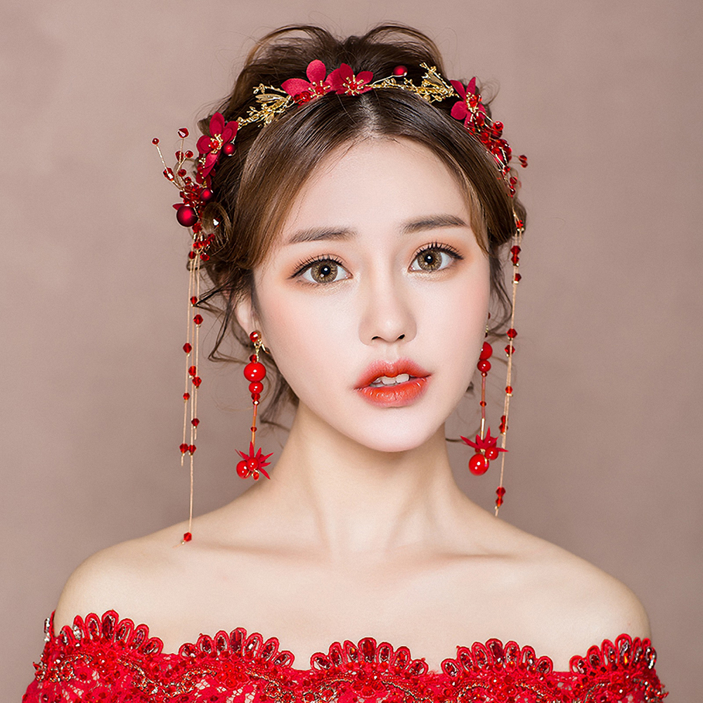 Wedding Hairstyle With Headband: Handmade Red Beaded Headband Hair Accessories Bridal