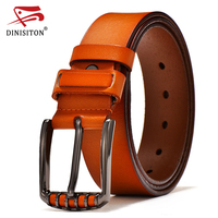 DINISITON Men Luxury Belt Genuine Leather High Quality Cow Leather Belts For Man Vintage Pin Buckle