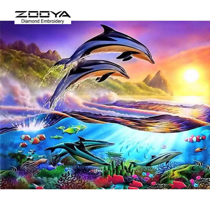 5D DIY Diamond Painting Dolphin Crystal Diamond Painting Cross Stitch The Underwater World Needlework Home Decorative BJ907