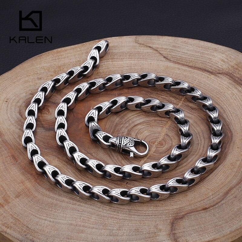 Punk acier inoxydable 70cm longue chaîne à maillons colliers pour hommes 8mm largeur lourde chaîne à maillons bijoux