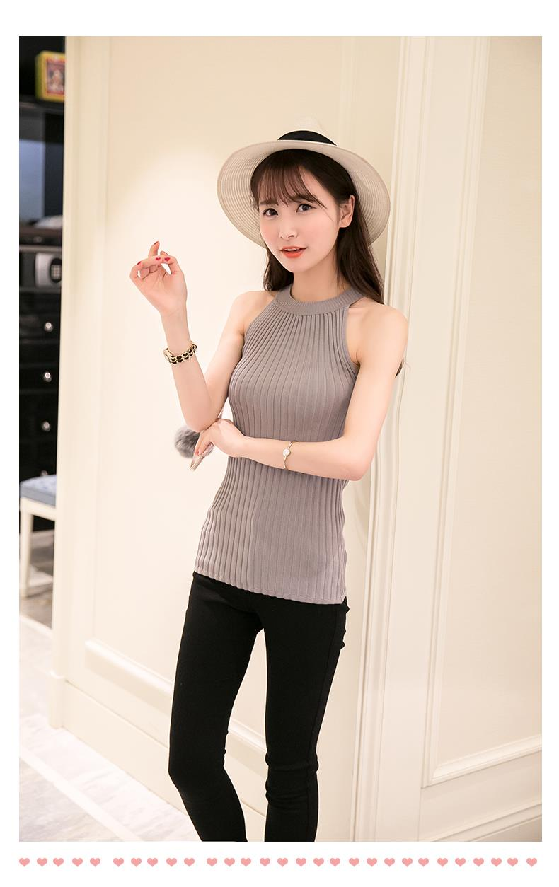 Women Spring Summer Sweater tanks sleeveless Knitted Camis Slim Halter Neck Sexy Strapless 31