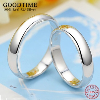 Trendy 1PCS Ring Pure 925 Sterling Silver Rings Couple Ring  Simple Smooth  Wedding Band  Jewelry for Lovers Women Men 1