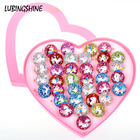 36 pcs/lot Cute Acrylic Unicorn Finger Rings Sets For Women Kids Open Adjustable Round Animal Ring With Heart Box Birthday Gifts