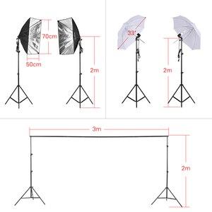 """Image 2 - Andoer fotoğraf seti 2 adet 33 """"beyaz yumuşak ışıklı şemsiye 2 adet 50*70cm Softbox ampul tutucu ile 4 adet 45W ampul vb"""