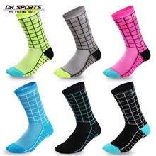 DH SPORTS New Top Quality Professional Brand Cycling Socks Breathable Bicycle Bike Outdoor Plaid Compression Racing