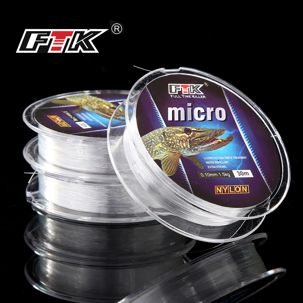 FTK  Ice Fishing Nylon Line 30M 2.9-12.5LB 1.3-5.7kg 0.08-0.25 DIA/MM Fishing Line Transparent For Carp Wire Winter Ice Nylon