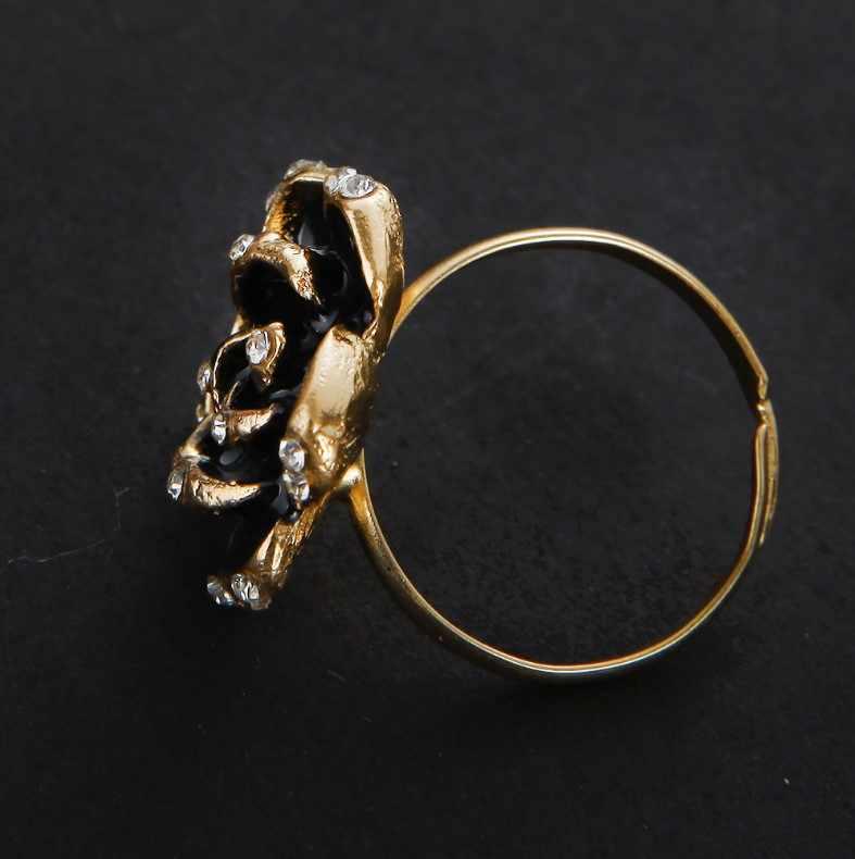 حار الأزياء قابل للتعديل خواتم الذهب اللون بالتمني زهرة الأوراق والأغصان الاصبع الأسود خواتم للنساء مجوهرات الزفاف