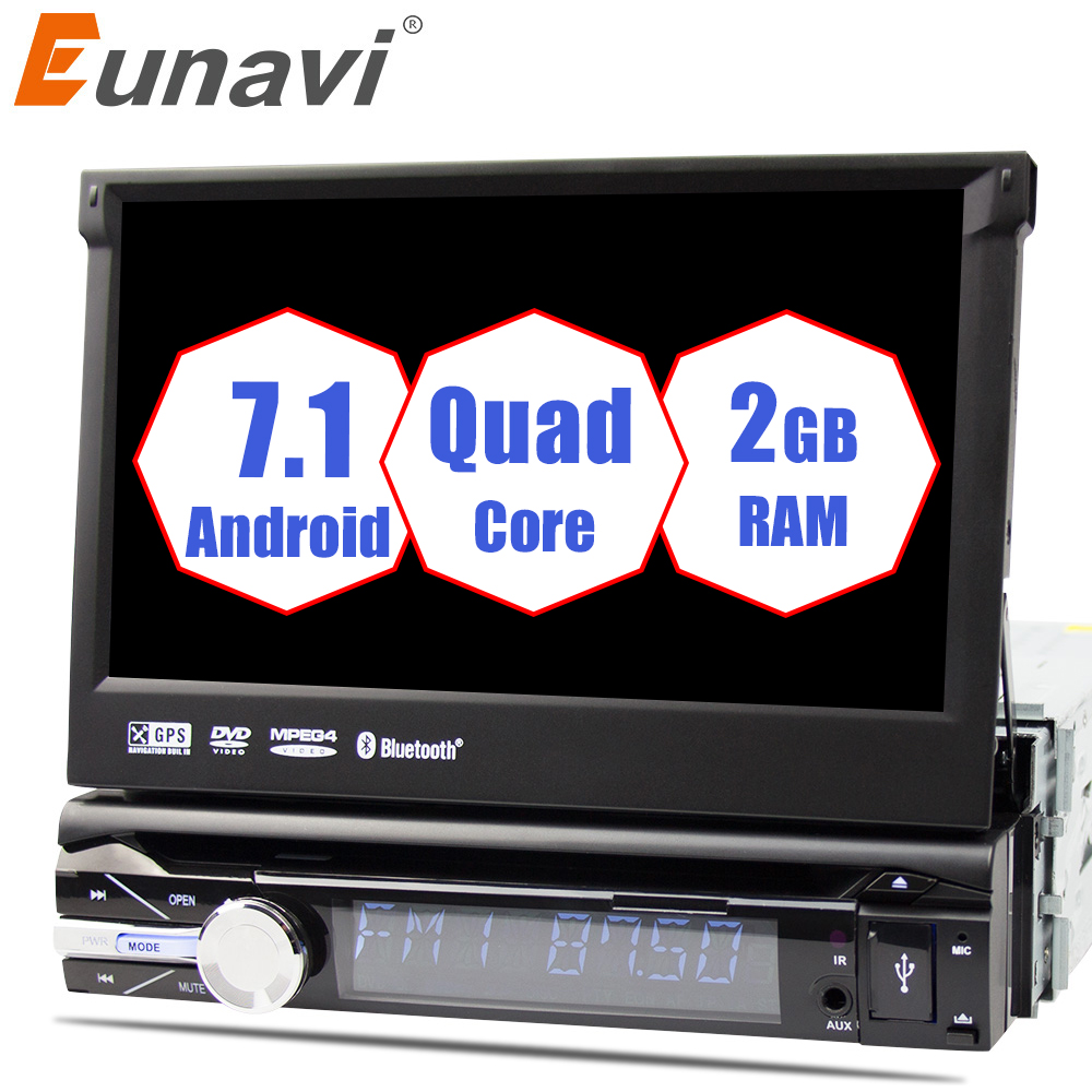 Eunavi 7'' Universal Single 1 din Android 7.1 Quad Core Car DVD player Stereo GPS Navi Wifi BT Radio 2GB RAM Steering wheel RDS