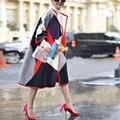 ВЫСОКОЕ КАЧЕСТВО Топ женская Мода Зима Flare Рукавом Геометрическая Лоскутная Случайные Свободные Длинные Пальто Открытым Стежка Шерсть