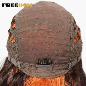 Image 5 - FREIHEIT Synthetische Haar Perücken Frauen Lange 26Inch Lose Wellenförmige Spitze Perücke Für Schwarze Frauen 2 Farbe Partei perücke Freies Verschiffen