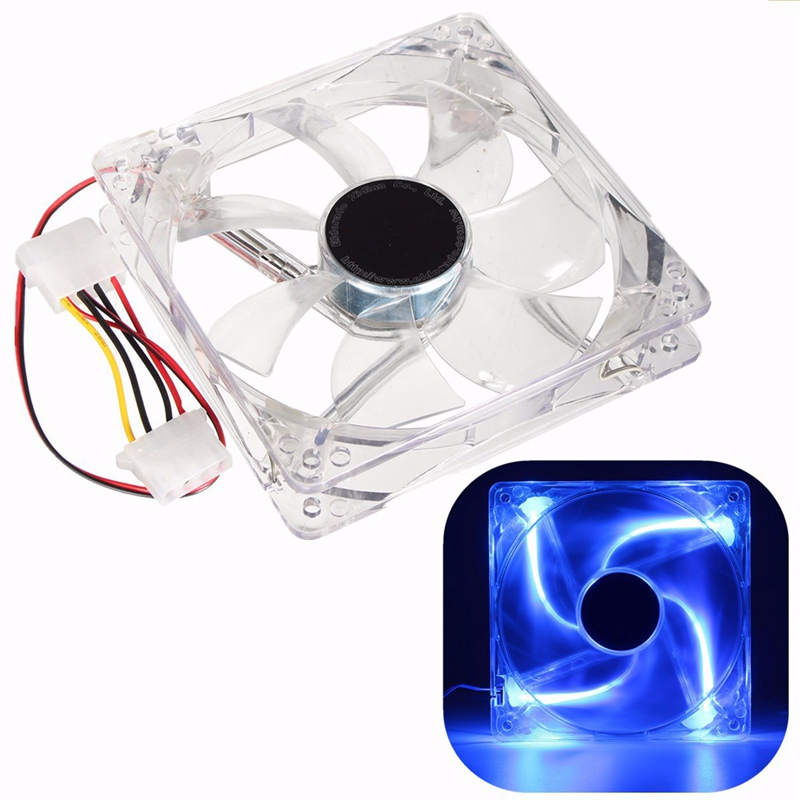 4 Pin 12V LED 120mm Computer Case Fan Cooling CPU Cooler Thermal Heat Sink Blue Light For PC Laptop Notebook 120x120x25mm medium computer cpu plastic cooling fan leaves card blower heat sink