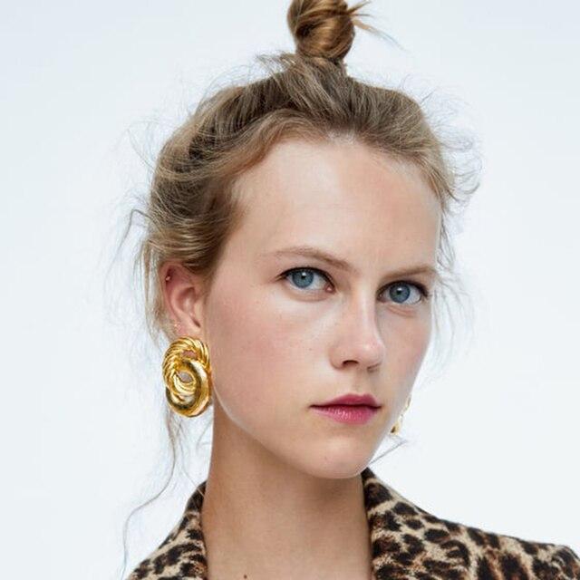 Best lady ZA Fashion Gold Color Stud Earrings For Women Vintage Wedding Party Metal Bohemian Statement Earrings Gift Hot Sale