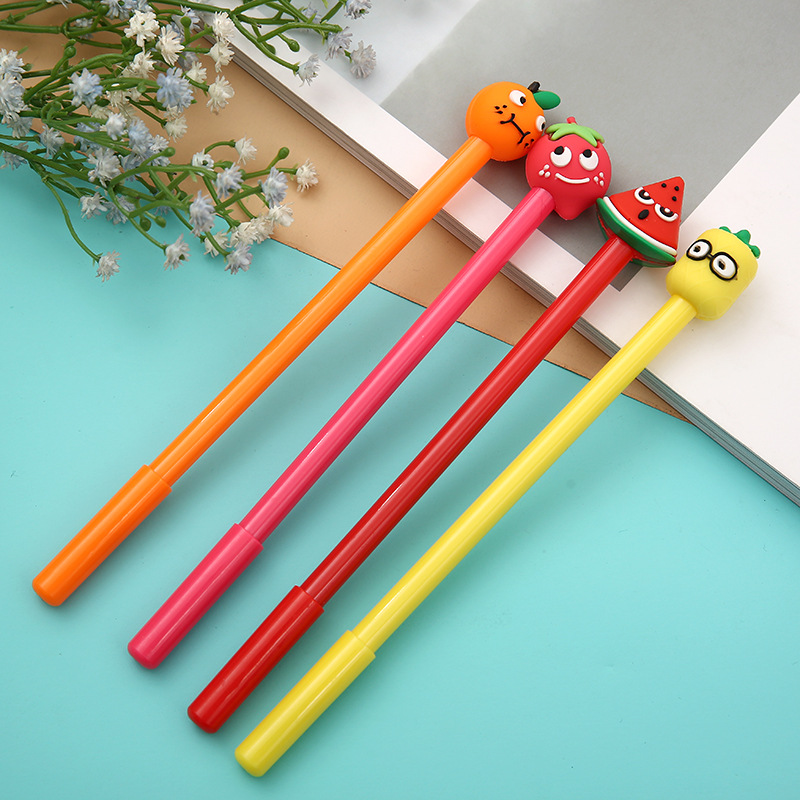 4 Pcs Fruit Modelling Neutral Pen Fresh Simple Orange Strawberry Black Pen Student Stationery Kawaii School Supplies Pen