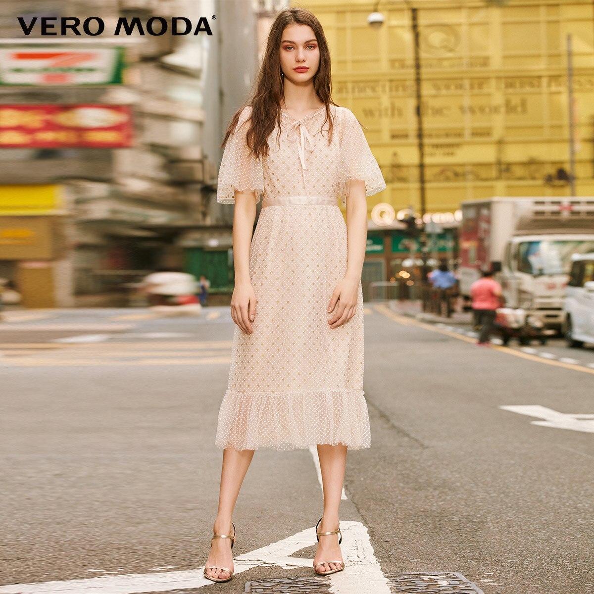 Vero moda feminino 2019 vintage reunindo bolinhas vestido gausy atado | 31916z509
