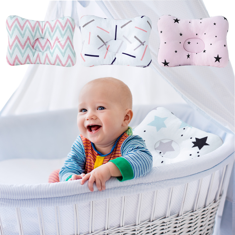 Muslinlife Soft Printed Square Pillow Kids Baby Pillow Newborn Cotton Sleeping Pillow Anti Roll Room Decoration Dropship