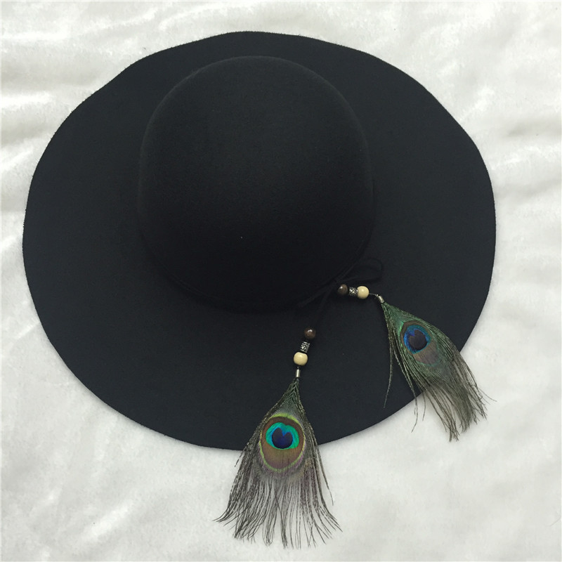 a71d275418a214 New Vintage fashion black Fedora Hats with peacock feather headband Felt Hat  for Women wide brim retro church classic hats-in Fedoras from Apparel ...