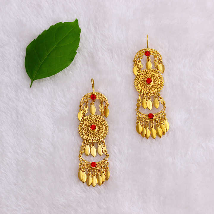 JH Traditional Wedding Dubai Bohemia Dangle Earring With Red Zircon Vintage Ethnic African Gold Earring Gift Free Shipping