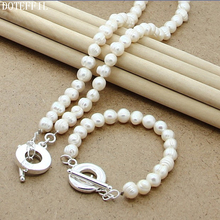 Women 925 Sterling Silver Natural White 8mm Pearl Necklace Bracelet Jewelry Women Fashion Charm Necklace Bracelet Set pearl 8mm chain necklace bracelet 925 silver charm round card women jewelry natural red pearls necklace bracelet jewelry set