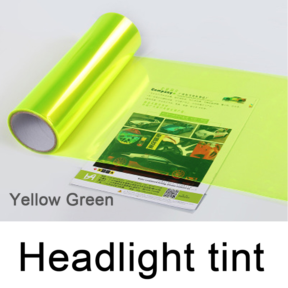 Fluorescent yellow Auto Car Headlight Tint Vinyl Film Sheet Sticker Car Smoke Fog Light Headlight 0.3*10m Roll-in Car Stickers from Automobiles & Motorcycles
