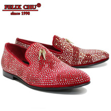 LUXURY HANDMADE LEATHER RED BLACK VELVET RHINESTONES LOAFERS GOLDEN TASSEL WEDDING PARTY BANQUET DRESS CASUAL MENS SHOES + MALE