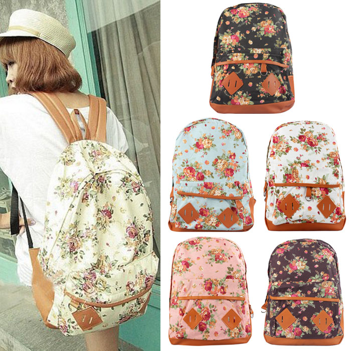 New Arrivals Women Canvas Rucksack Backpack Flower Printing School Book  Shoulder Bag Girls Travel Backpack La mochila Nov29-in Backpacks from  Luggage   Bags ... 0f8921a4e0