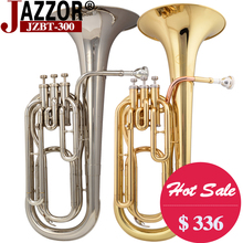 Free shipping Professional baritone horn JAZZOR JZBT-300 B Flat Gold Baritone brass wind instrument with mouthpiece & case