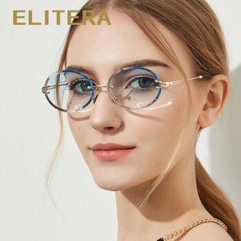 ELITERA Mode-Design Kleine Runde Sonnenbrille Für Frauen Dame Randlose Rahmen Elegante Brillen Sonnenbrille