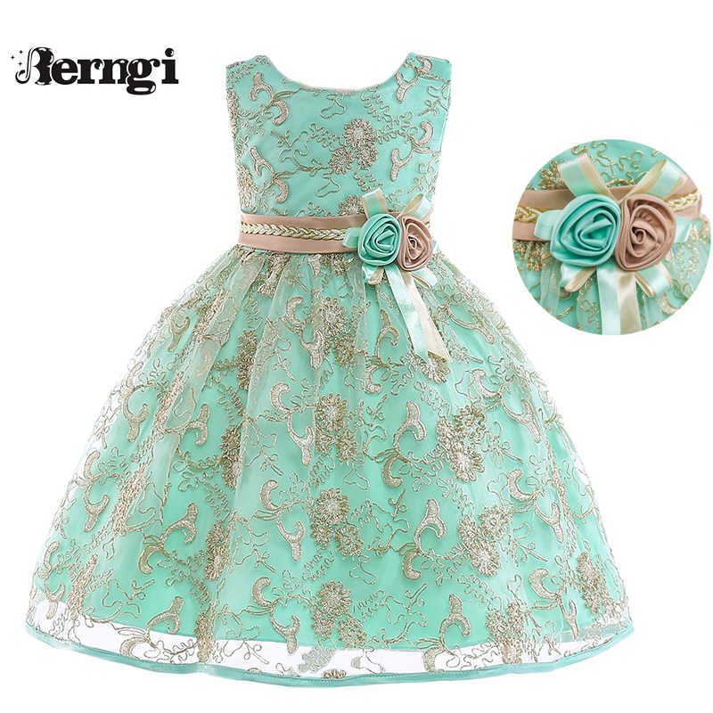 2fa7c27f Berngi New Girl Princess Flower Dress Kids Gold Thread Embroidered Wedding Party  Dress For Children's Costume