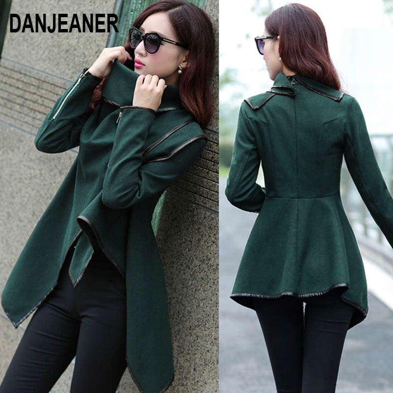 Danjeaner Autumn Winter Trench Coat Women Irregular Collar Lapel Side Zipper Woolen Coat Women Loose Sweater Outwear Plus Size