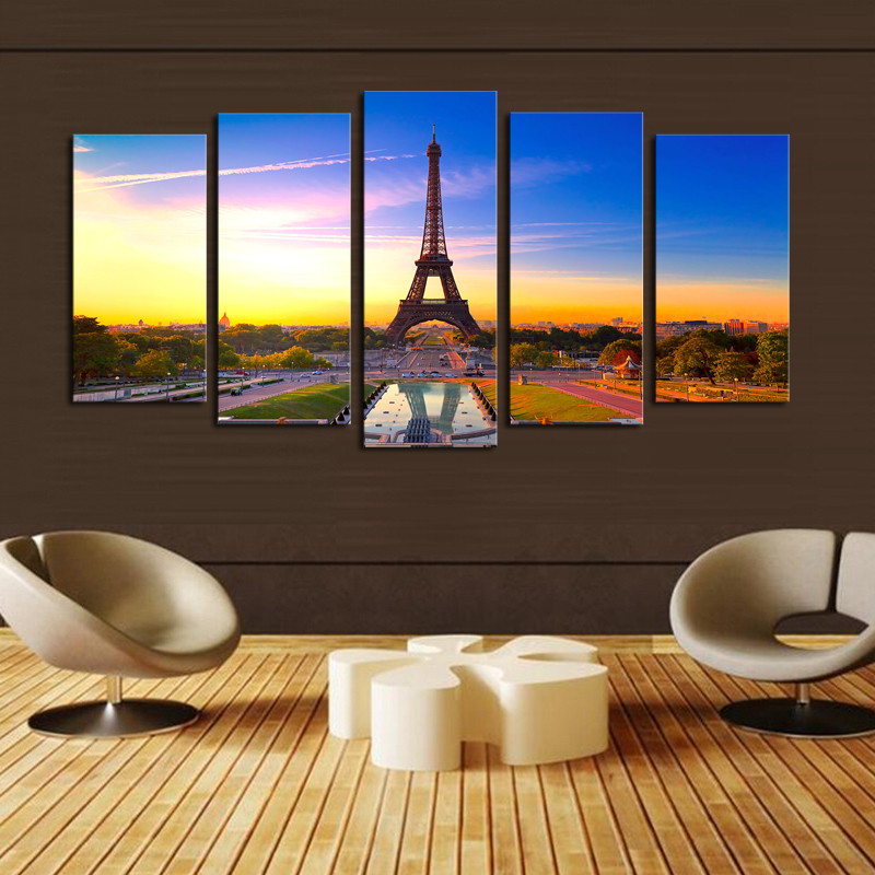 New arrival paintings cuadros unframed 5 panels eiffel tower painting modern home wall decor canvas art hd print picture