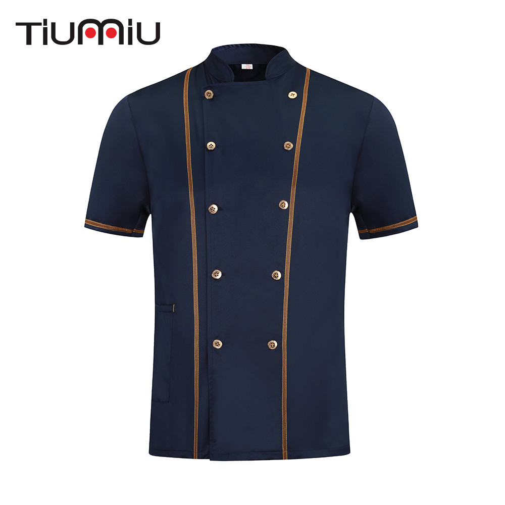 New Arrival Chef Work Clothes Summer Short-sleeved Breathable Chef Jacket Restaurant Hotel Cook Food Service Uniform Coat