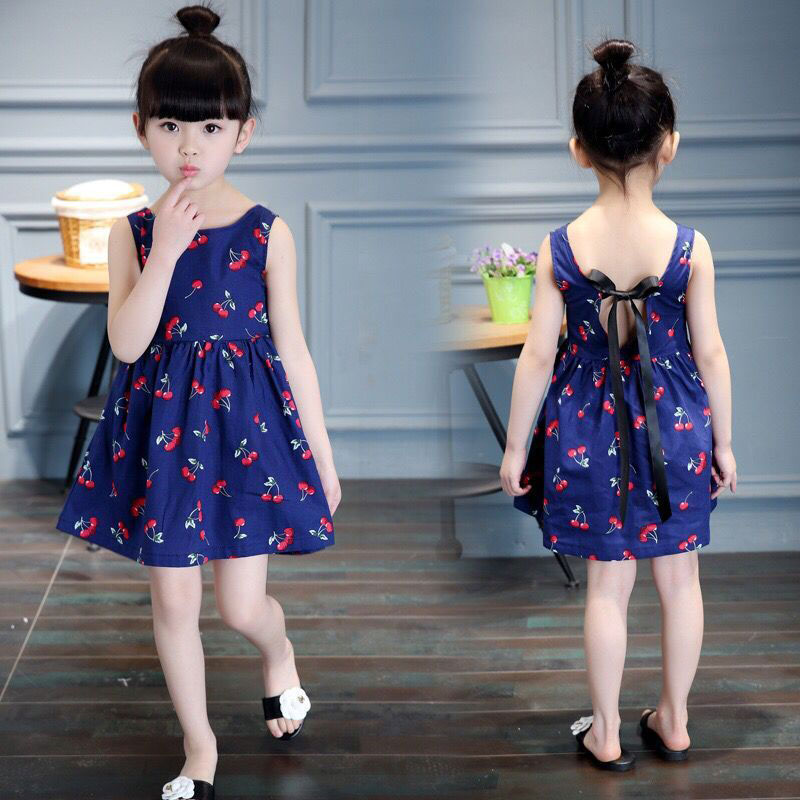 Summer Mother Daughter Dress Family Matching Clothes Navy Blue Sleeveless Cherry Print Linen Dress O-neck Daughter Dresses navy random feathers print v neck short sleeves slit hem maxi dress