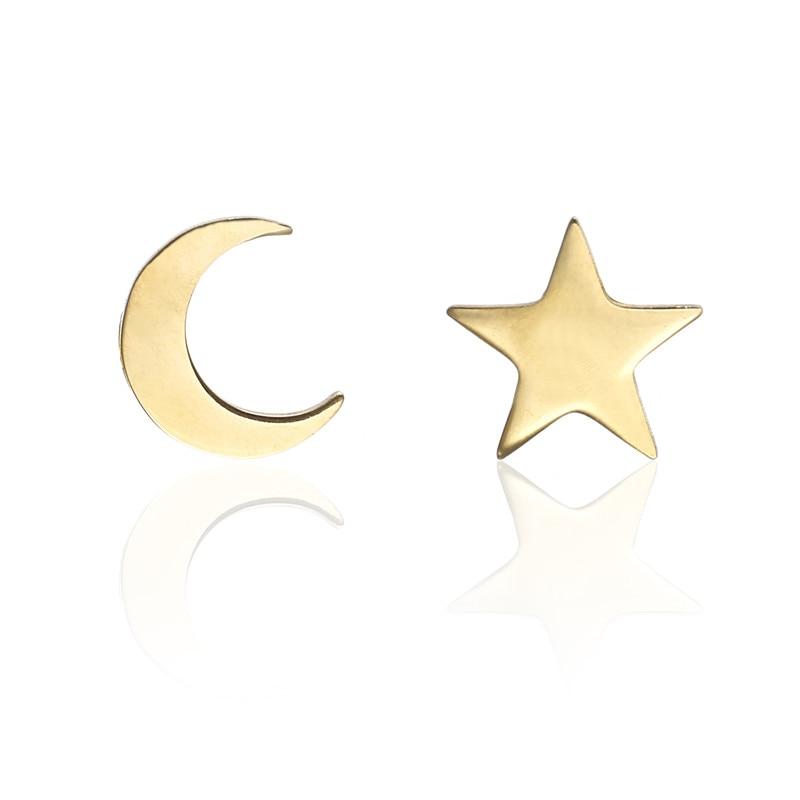 Women Gold Stainless Steel Cute Earrings Moon Star Stud Earrings for Girls Minimalist Jewelry Geometric Earrings E0206