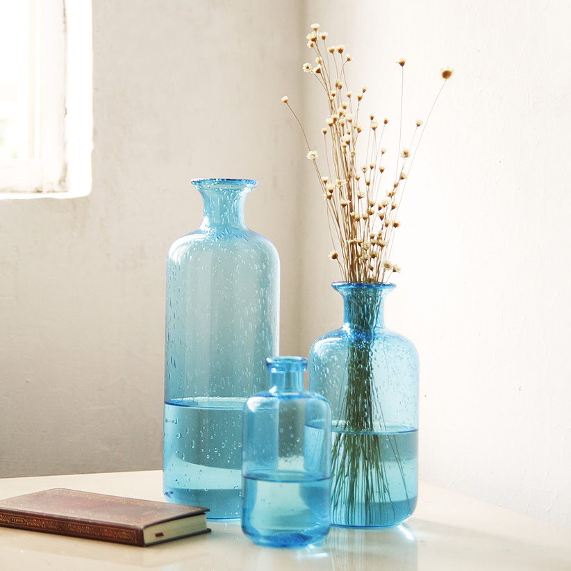 Zakka Bubble blue glass vase vase floral decoration design Home Furnishing bubble hydroponic container
