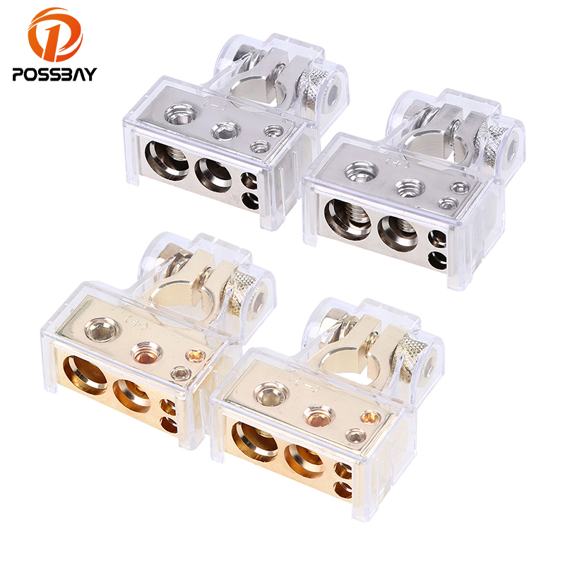 POSSBAY Positive&Negative Car Battery Terminal Connectors 0 4 8 AWG Gauge Gold Silver Electric Connector Car Batteries 1 pair practical silver car battery terminal set 2 4 8 gauge awg positive